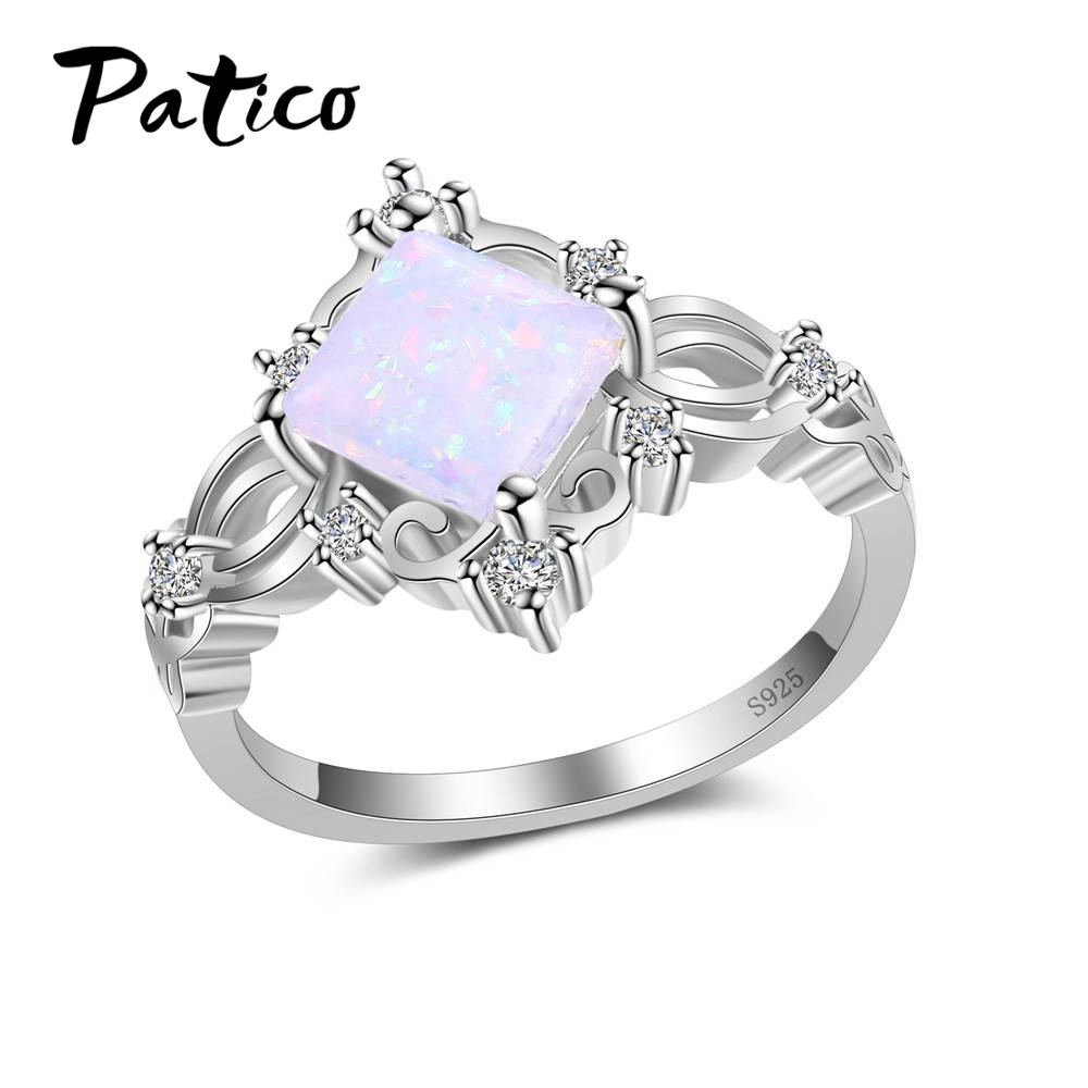 PATICO Cute Single Square White Fire Oval Opal Rings for Women Noble Style 925 Sterling Silver Filled CZ Rings Fashion Jewelry