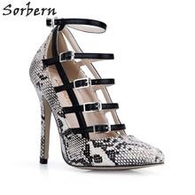 Sorbern Snakeskin Women Pumps High Heels Pointed Toe Buckles Ladies Shoe  Diy Colors Womens Heels Shoes Stilettos New Size 8 db574aaf689e
