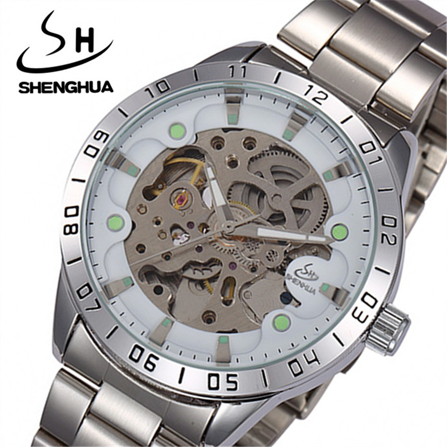 SHENHUA Luxury Brand Business Men Wrist Watches Automatic Mechanical Watch Military Stainless Steel Sport Skeleton Clock Reloj forsining top brand luxury men s wrist watch men military sport clock hand wind mechanical watches male business skeleton clocks