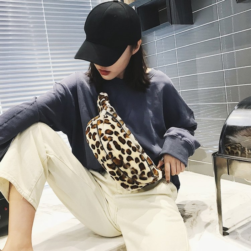 New autumn and winter fashion leopard print ladies 39 breast bag trend single shoulder bag in Top Handle Bags from Luggage amp Bags