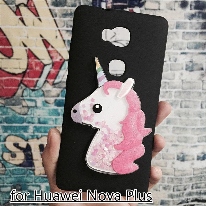 Unicorn Glitter Liquid Case for Huawei Nova Plus Cover Dynamic Cute Cartoon OWL Soft TPU Funda