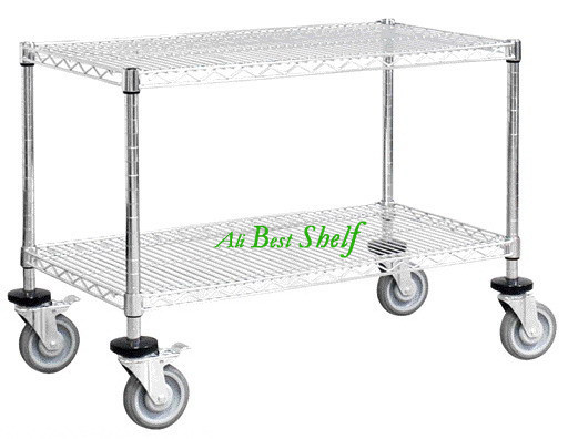 Shelf manufacture 2 tiers with wheels silver Chrome plated
