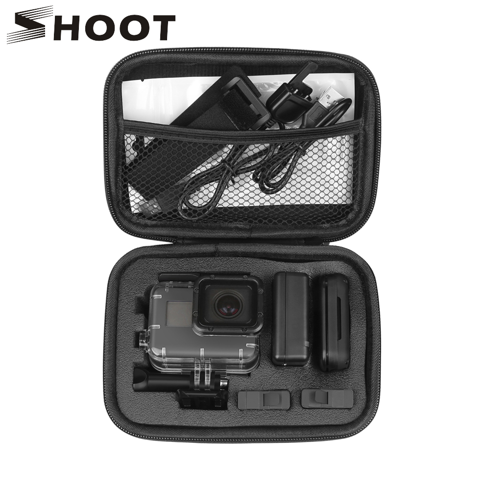 SHOOT Portable Small EVA Action Camera Case for GoPro Hero 7 6 5 Black 4 Xiaomi Yi 4K Sjcam Sj4000 Eken H9r Box Go Pro Accessory shoot jaws flex clamp mount for gopro hero 7 6 5 xiaomi yi 4k sjcam eken h9r with bucket tripod holder for go pro hero accessory