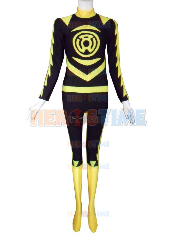 Sinestro Corps Costume Spandex Lycra Yellow Lantern Superhero Costume Halloween Cosplay Zentai Suit free shipping