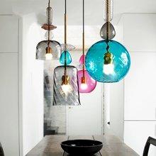 JAXLONG LED Colorful  Pendant Lights Nordic Creative Living Room Bar Bedroom Lamp Restaurant Glass Lighting Fixture