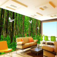 Custom Any Size Wall Murals Scenery 3D Wallpapers Green Forest 3D Wall Mural Sofa TV Background