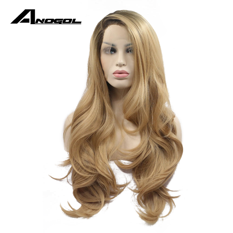 Anogol Glueless High Temperature Fiber Hair Long Body Wave Dark Roots Ombre Blonde Synthetic Front Lace