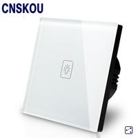 SANKOU 1Gang2Way Light Lamps Wall Switch White Crystal Glass Panel With LED Indicator UK Standard AC220V