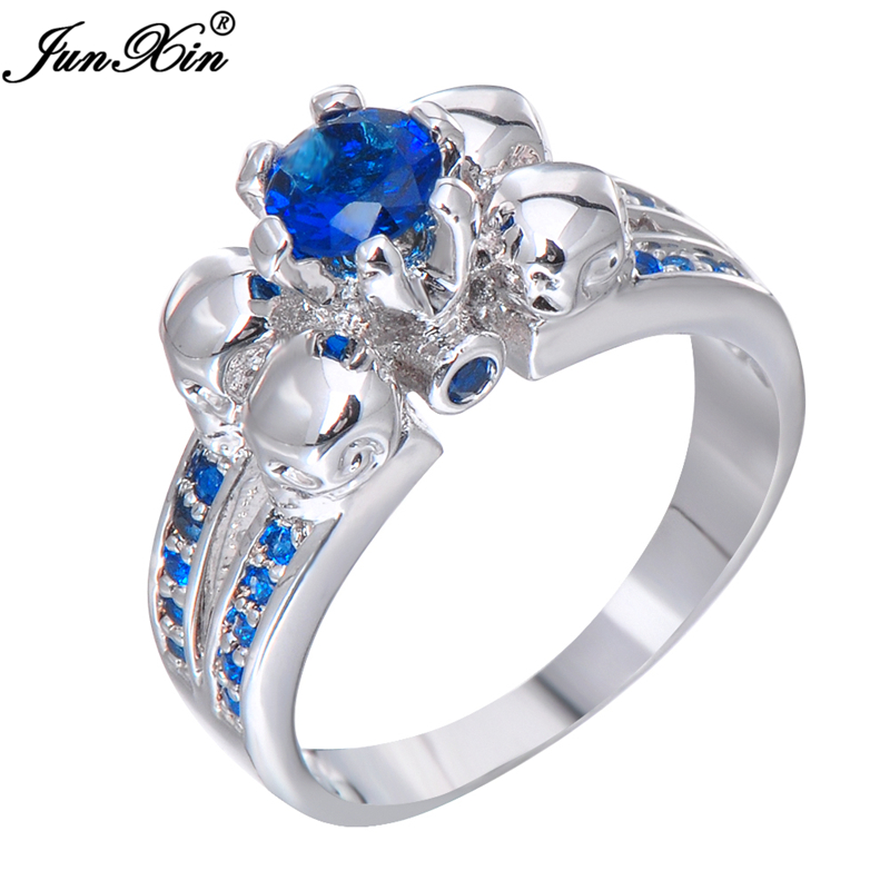 junxin blue crystal skull ring vintage wedding rings for women fashion white gold filled jewelry bague - Skull Wedding Rings