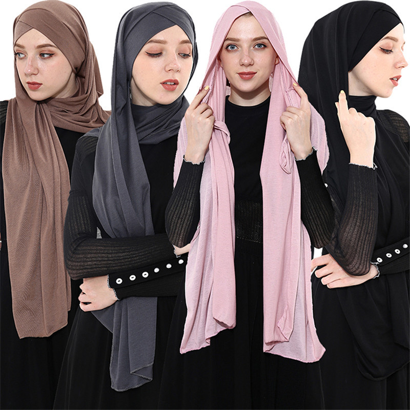 2019 Fashion Women Jersey Scarf Islamic Shawls And Wraps Plain Hijab Femme Musulman Foulard Ready To Wear Muslim Headscarf