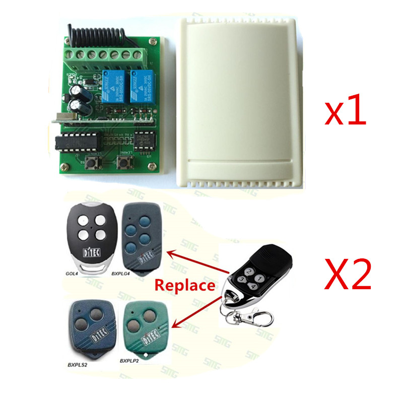 Free shipping Ditec remote control 433.92mhz rollin code and Ditec receiver replacement