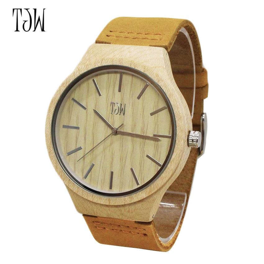 Деревянный коричневый кварцевые наручные часы бамбук Творческий регулируемый ремешок природа Watch Для мужчин Новое поступление благородны…