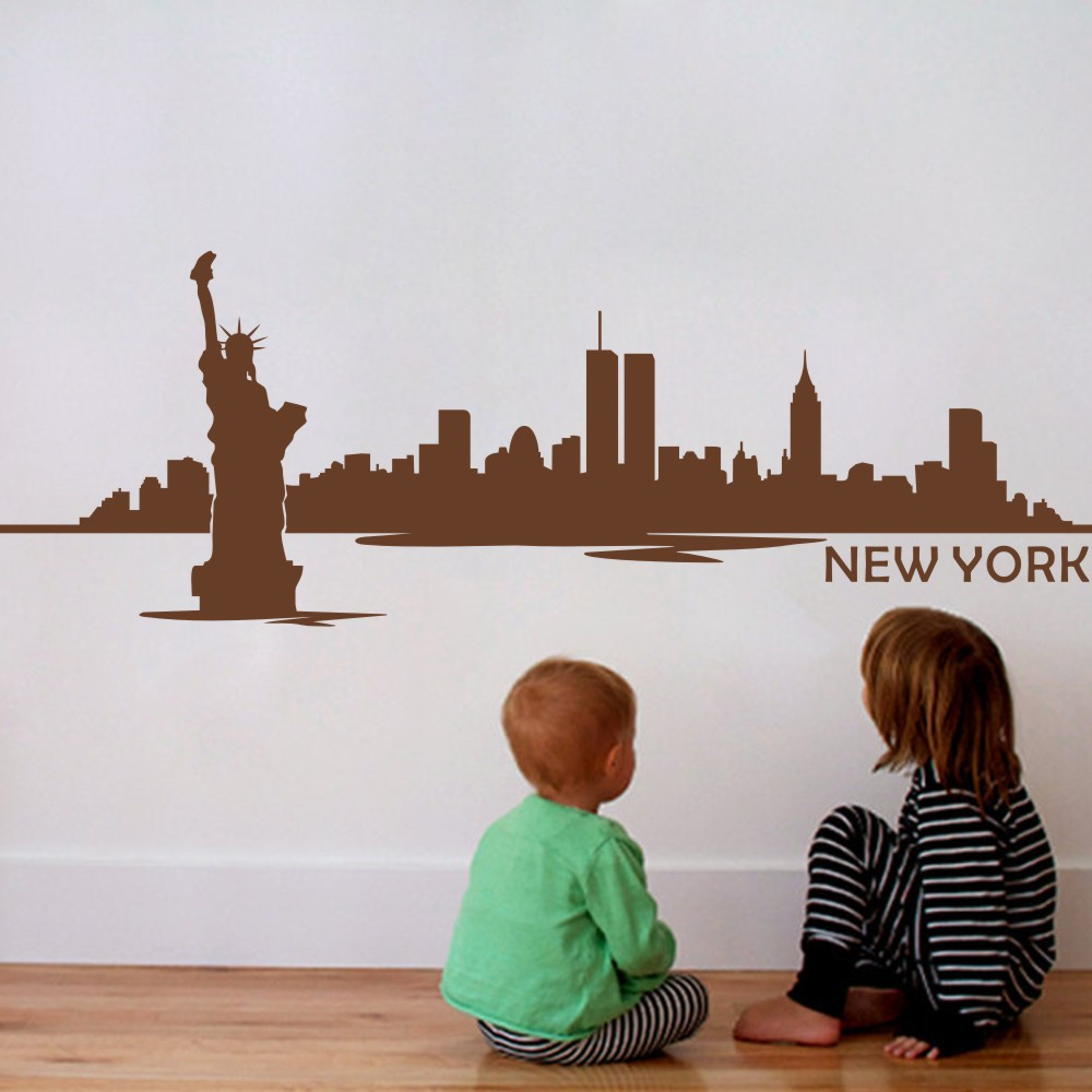 New york city skyline silhouette wall decal custom vinyl art stickers the big apple home decoration wall decor mural 9h x24w in wall stickers from home