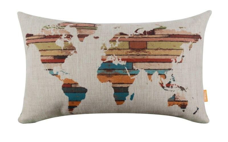 LINKWELL 50x30cm Retro Wood Slat Barevná Mapa světa Obdélníkový - Bytový textil