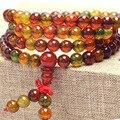 Natural 6mm  Agate beaded Bracelet Tibetan Buddhist 108 Prayer Beads Necklace Gourd Mala Prayer Bracelet for Meditation