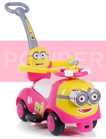 Kinderen Trolley Twisted auto Yo auto met muziek 1-3 jaar oude baby Vier wiel scooter met push met vangrail
