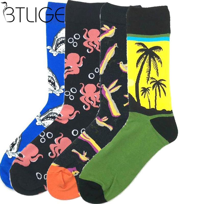 Unisex Funny British Style Casual Cartoon Animals Monkey Bear Dog Printed Cotton Socks Crew Creative Lovely Mid Tube Sock Autumn Men's Socks