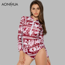 цены AONIHUA 2018 Retro Ancient mural printing Swimsuit for Women One Piece Swimwear Long sleeve Front zipper swimming Suit 9020