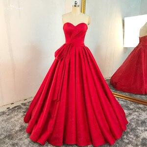 Image 4 - RSE895 عالية الجودة الفاخرة مطوي تنورة الكرة ثوب مع إزالة التنورة الداخلية الأحمر الزفاف اللباس الحرير