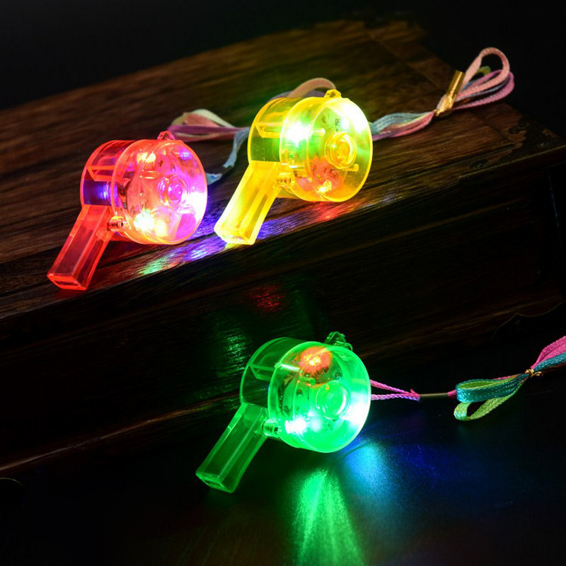 5 Pcs Flashing Whistle Funny Noise Maker Toy Cheer Props Decoration LED Para Fiestas Supplies Blinking Bar Color Light Up