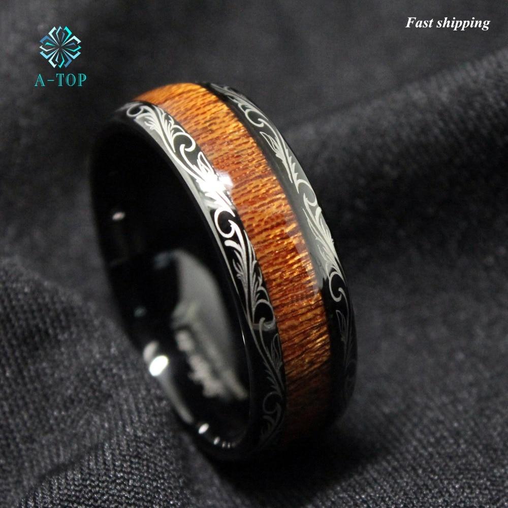 Black Tungsten Carbide Ring Koa Wood Inlay Dome Mens