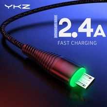 YKZ LED Micro USB Cable 2.4A Fast Charge USB Data Cable for Samsung Xiaomi