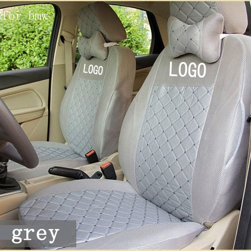 Front 2 Seat Cover For Bmw E46 E90 E92 3 5 7 X5 X6 M3 M6 Cotton Mixed Silk Grey Black Red Beige Embroidery Logo Car Covers Four Seasons