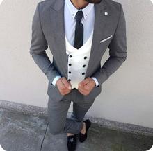 2019 изготовленный на заказ тонкий Fit костюм мужчины Blazer свадебные с брюками двубортный жилет костюм смокинг костюм куртка мужской 3 шт