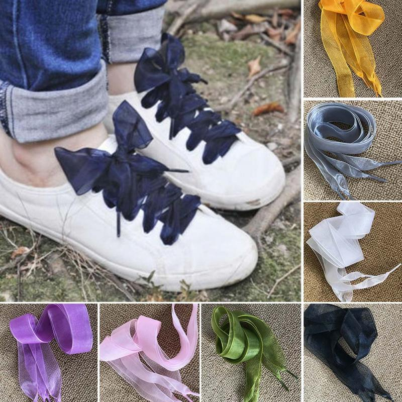 1 Pair 110cm Fashion Flat Silk Satin Ribbon Shoelaces Sport Shoes Sneakers Laces Shoe Strings Shoe Lace Fancy Lacet semi circle multicolour shoelace two tones cavans shoe laces elastic men s shoes lacet 110cm length 10 pairs on sale
