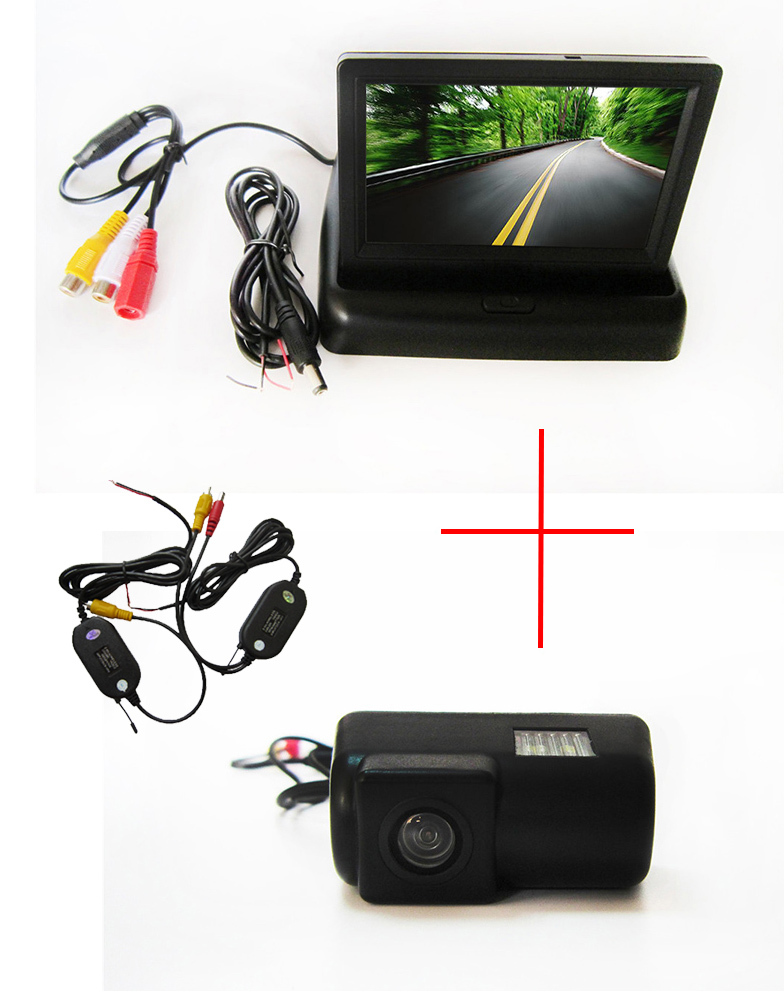 Wireless Color CCD Car Rear View Camera for Ford Transit connect,with 4.3 Inch foldable LCD TFT Monitor wireless color ccd chip car rear view camera for kia sorento sportage 4 3 inch foldable lcd tft monitor