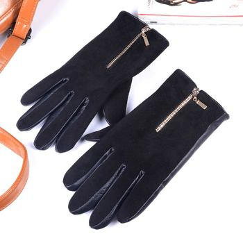 2019 New Men's Real Leather Suede Skin Fashion Winter Warm Zipper Thick Lining Short Gloves women s ladies 100% real leather sheep skin winter warm thick lining white gloves colorful blue cute outdoor short gloves