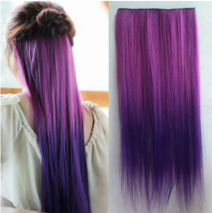 Two Tone Hairpieces Dip Dye 5 Clips Synthetic Hair Extensions Ombre ...