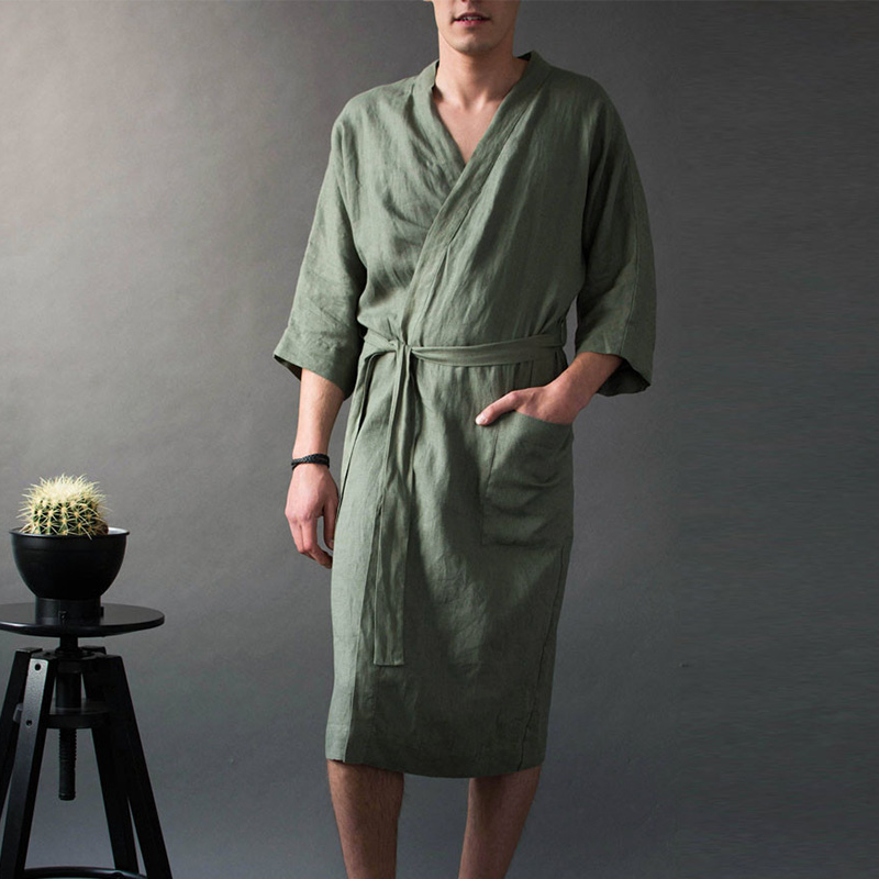 Linen Men's V-neck Long Solid Pajamas Robes Wrist Sleeve Simple Lace Up Male Robe 2019 Vintage Men Bathrobe Homme Nightgown