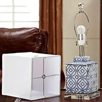 Luxury Blue And White Porcelain Table Lamp Luxury Bedroom Bedside Lamp Ceramic With Crystal Base Decoration