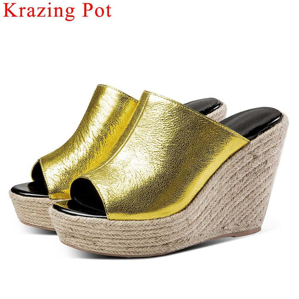 Krazing Pot special cow leather wedges super high heels straw decoration peep round toe platform mules summer runway shoes L22Krazing Pot special cow leather wedges super high heels straw decoration peep round toe platform mules summer runway shoes L22