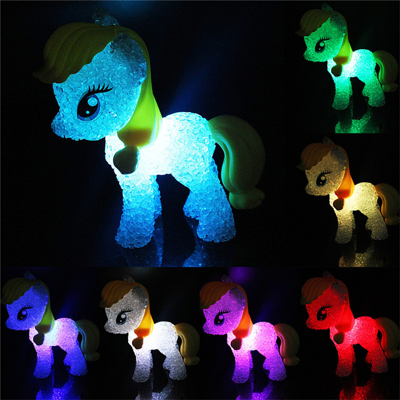 1PC Colorful changing Cartoon Horse Lamp Night Light with dry battery power night lamp for baby bedroom dectoration