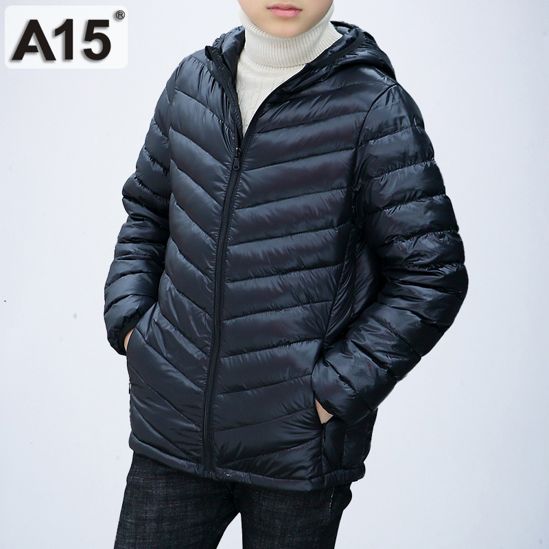 A15 Children Clothing Boys Winter Jacket 2019 Brand Hooded Kids Girls Winter Coat Long Sleeve Warm Parka Outwears Big 10 12 Year-in Down & Parkas from Mother & Kids