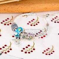 Модные украшения браслет S925 Серебряный Мульти Цветной Радуга серии подвески готовые браслет комплект Женщина Подарки для девочек