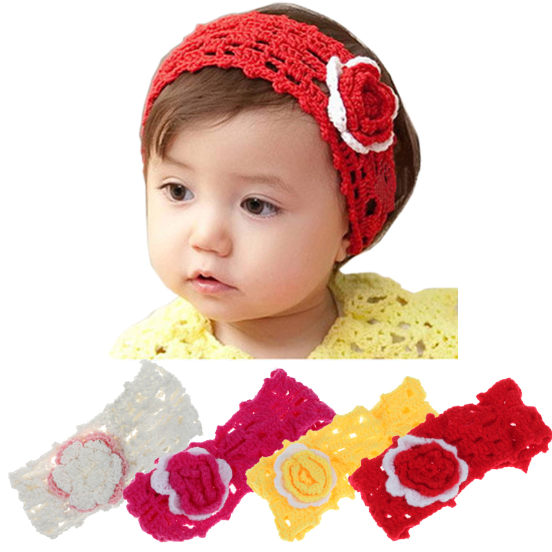 Fabric Hair Flowers Crochet Elastic Headbands Baby Girls Hair Accessories Knot Hair Band Accessories Headwear acessorio para cab