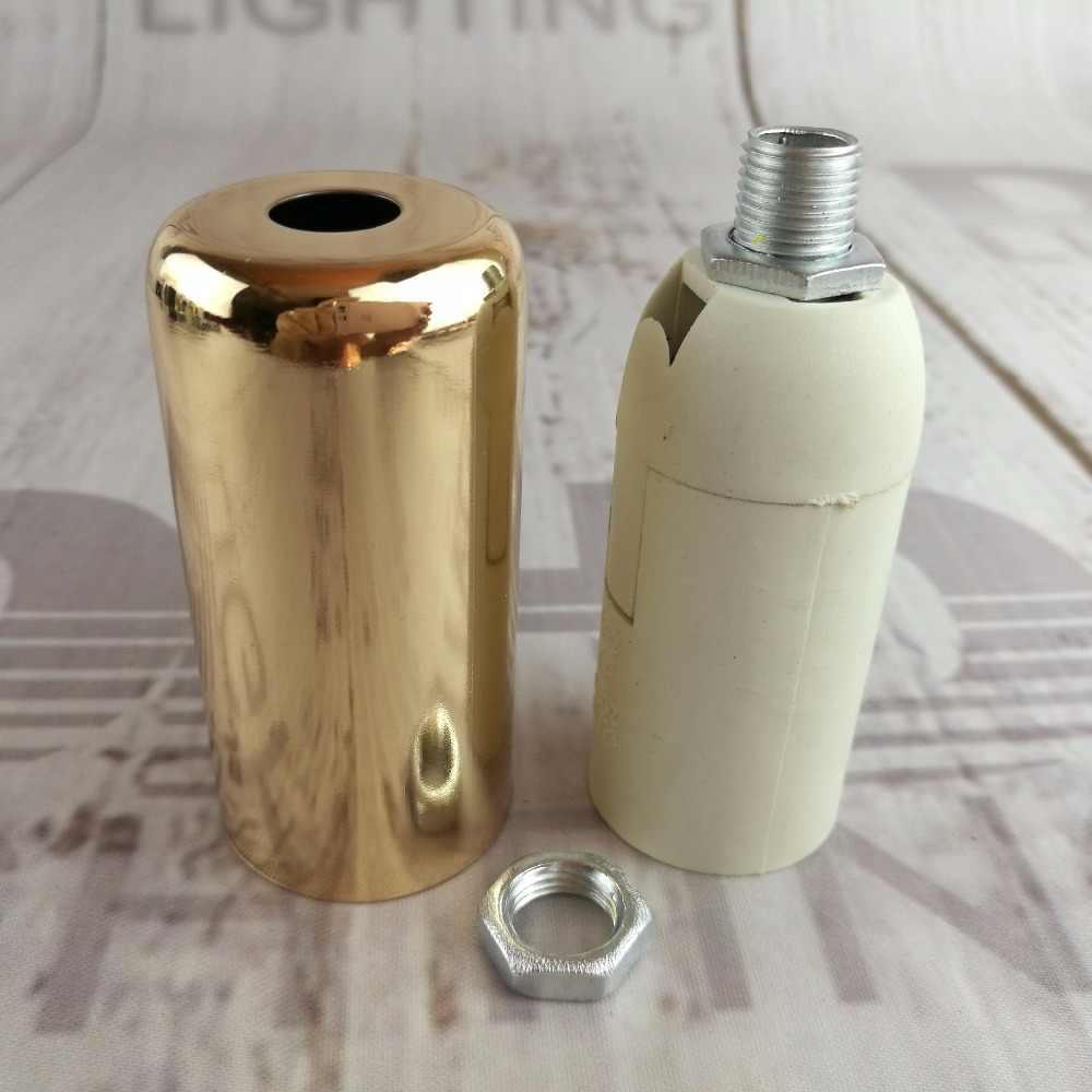 2pcs/10pcs E14/E12 CE/UL plastic socket with iron cover lamp holder silver/gold/black finished iron plastic light sockets