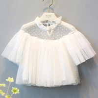 Baby Famous Brand Clothing T Shirt Girl Short Sleeve White Lace Veil Princess Cute Baby Tops