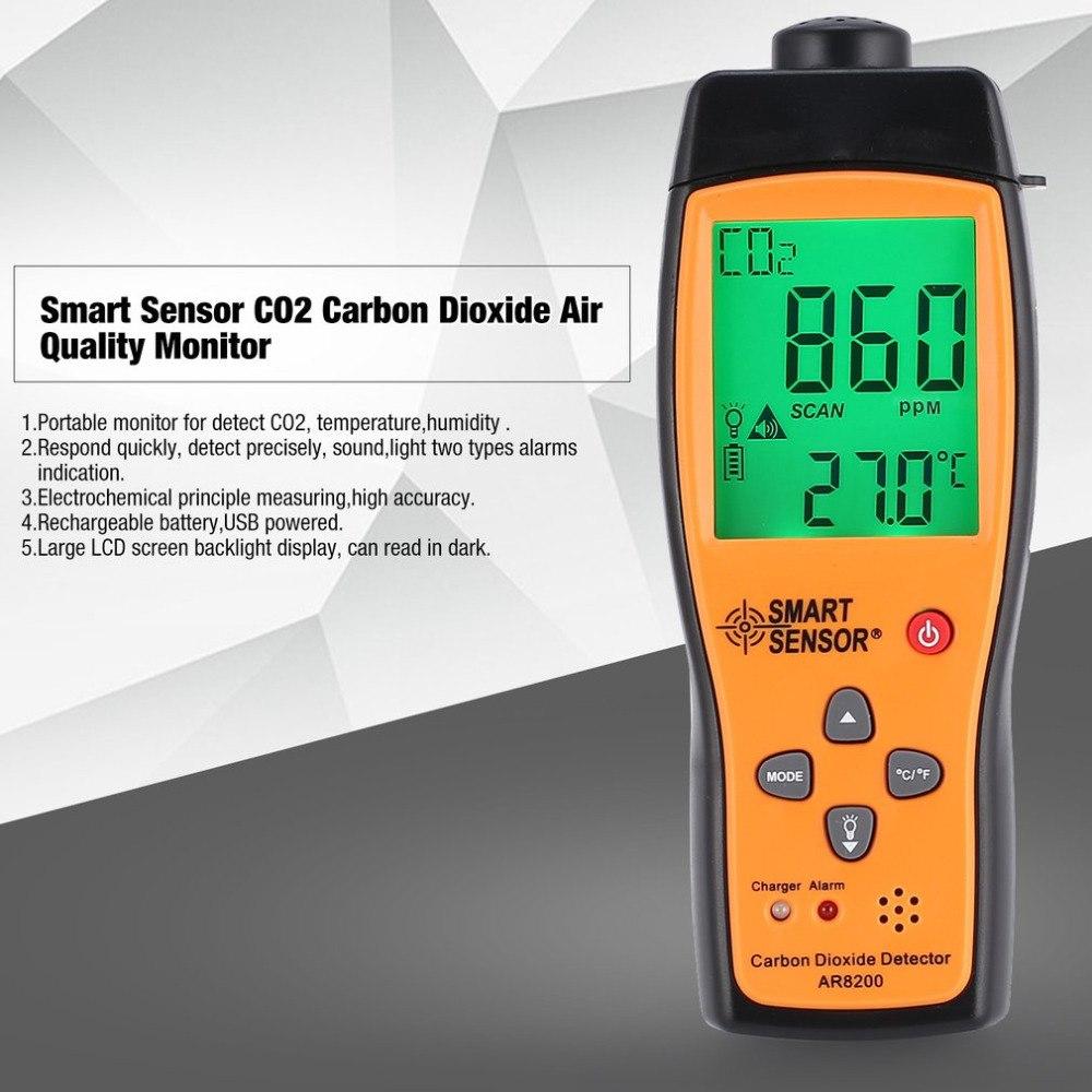 Smart Sensor AR8200 CO2 di Biossido di Carbonio di Qualità Dell'aria Monitor Analyzer Temp di Temperatura del Termometro Tester Rilevatore di Gas Metro