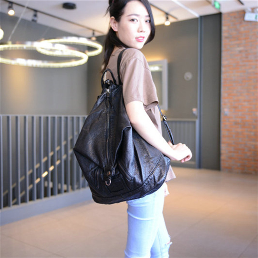 2016 new leather backpack washed leather bag lady Korean male college summer fashion leisure backpack