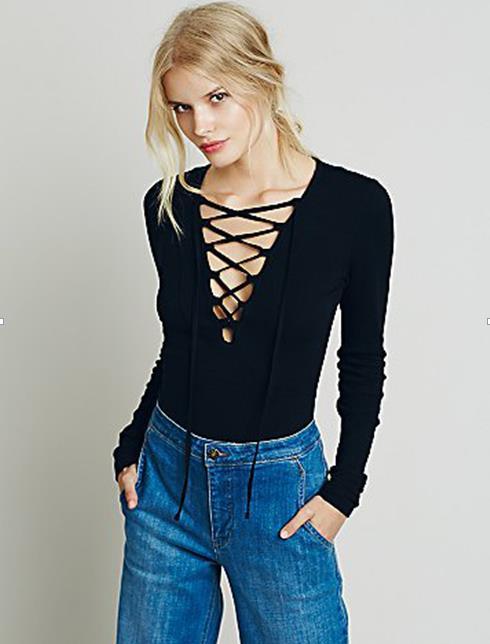 e492c21aa3 Deep V Neck Front Lace Up Causal Long Sleeve Shirt Women Blouses Ladies  Tops Autumn Bandage Black White Blouse Women Plus Size