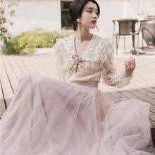 Новинка, Модный женский комплект из двух предметов, летнее платье, Ретро стиль, французская Весенняя Блузка+ юбка
