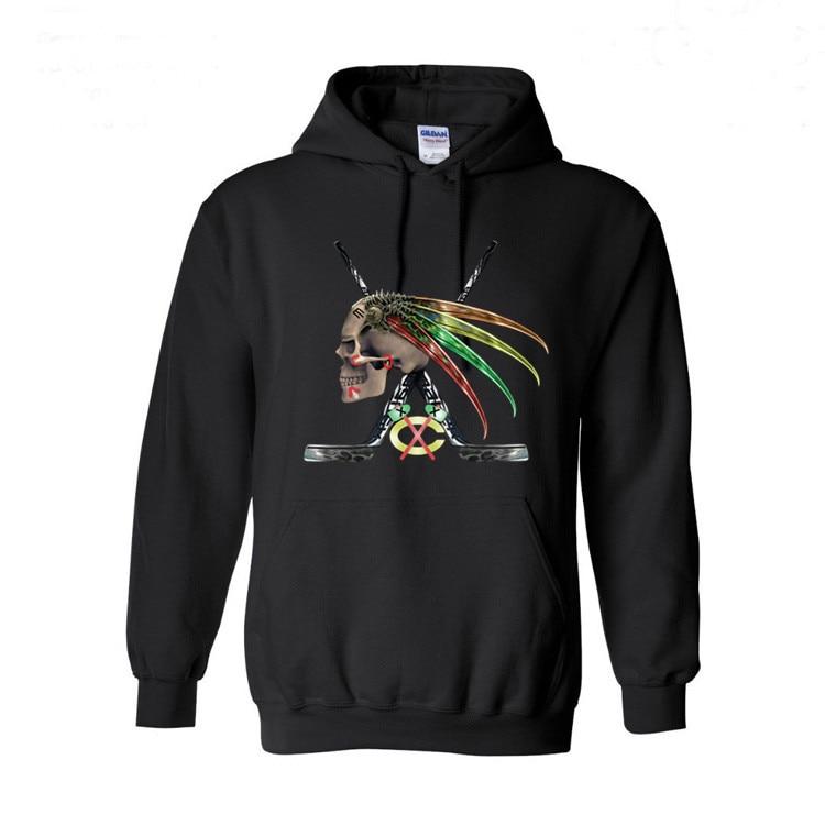 the best attitude ef264 c4c31 Chicago Blackhawks Skull Logo Art Hoodies Top qaulity man ...
