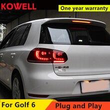 KOWELL 자동차 스타일링 VW 골프 6 MK6 GOLF6 R20 테일 라이트 LED 테일 라이트 LED 후면 램프 DRL + 브레이크 + 반전 + 신호 어셈블리