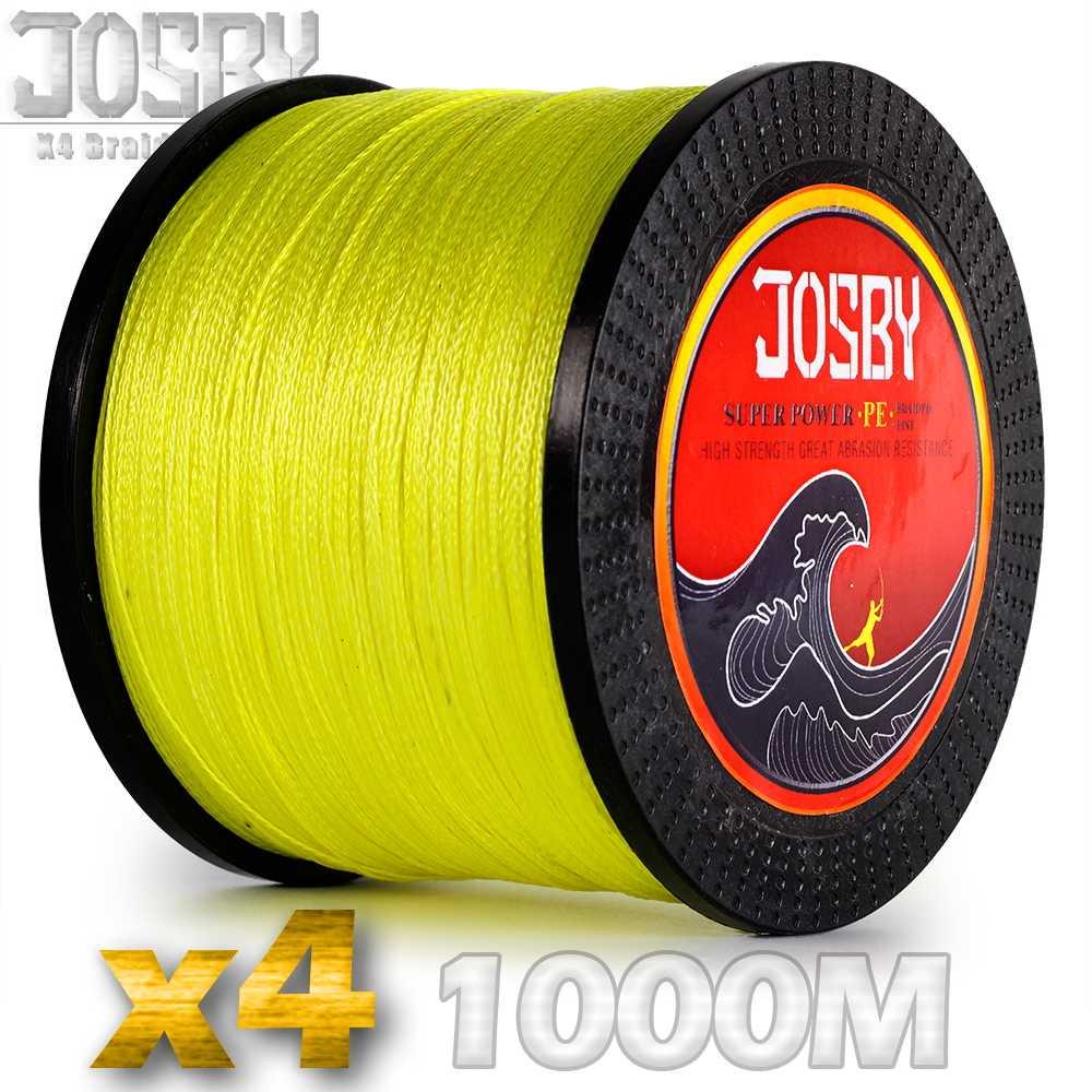 JOSBY 1000m Ligne De Pêche 4 Brins Carpe Pêche Fil Tressé PE Cordon Pesca 9 Couleurs Peche Multifilament Solide 10-85LB