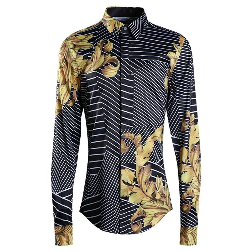 Neue ankunft Fashions Modische Männer Ganze Körper Puzzles Mode Beiläufige lange seeve Shirts Drucken Einreiher plus größe M 4XL-in Legere Hemden aus Herrenbekleidung bei AliExpress - 11.11_Doppel-11Tag der Singles 1
