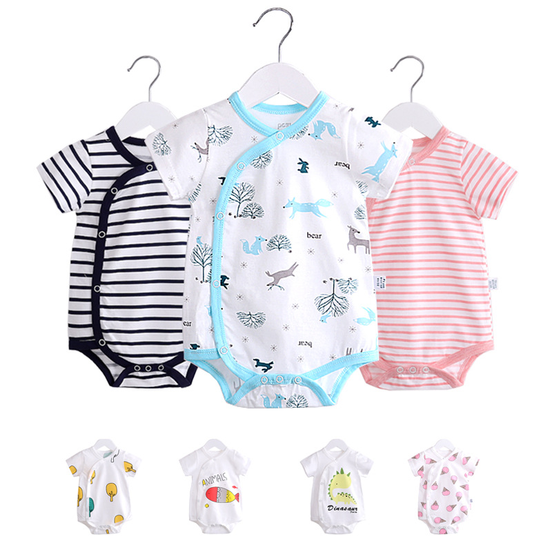 0-12M Toddler Baby Clothes cotton Short sleeve newborn baby   Romper   Cartoon print Baby boys Clothing Jumpsuit